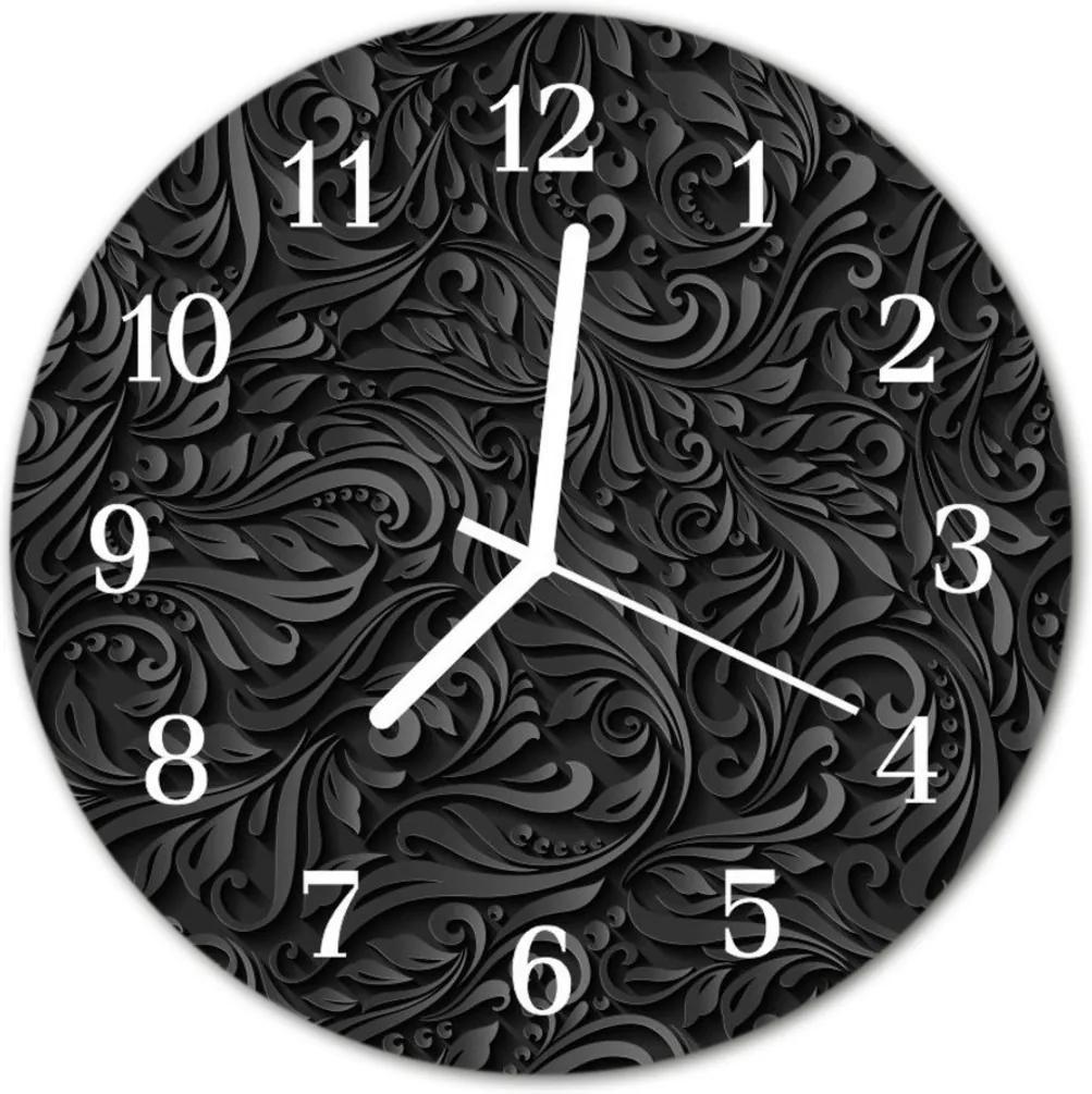 Skleněné hodiny kulaté vzor