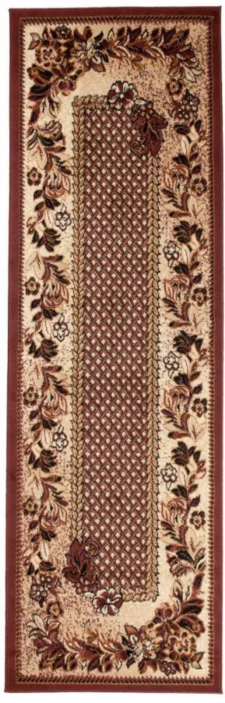 Kusový koberec PP Květiny hnědý atyp, Velikosti 70x250cm