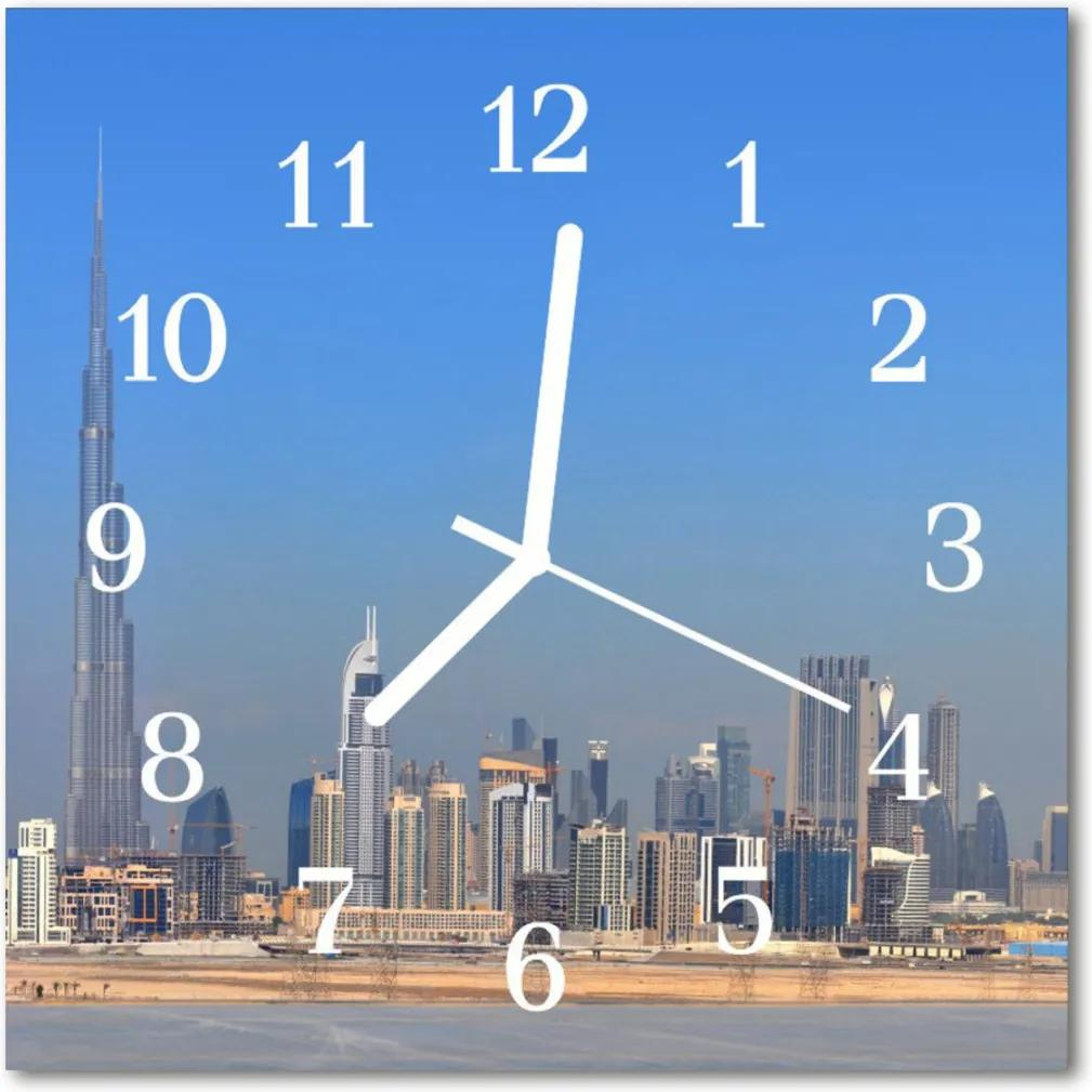Skleněné hodiny čtvercové Město Dubaj
