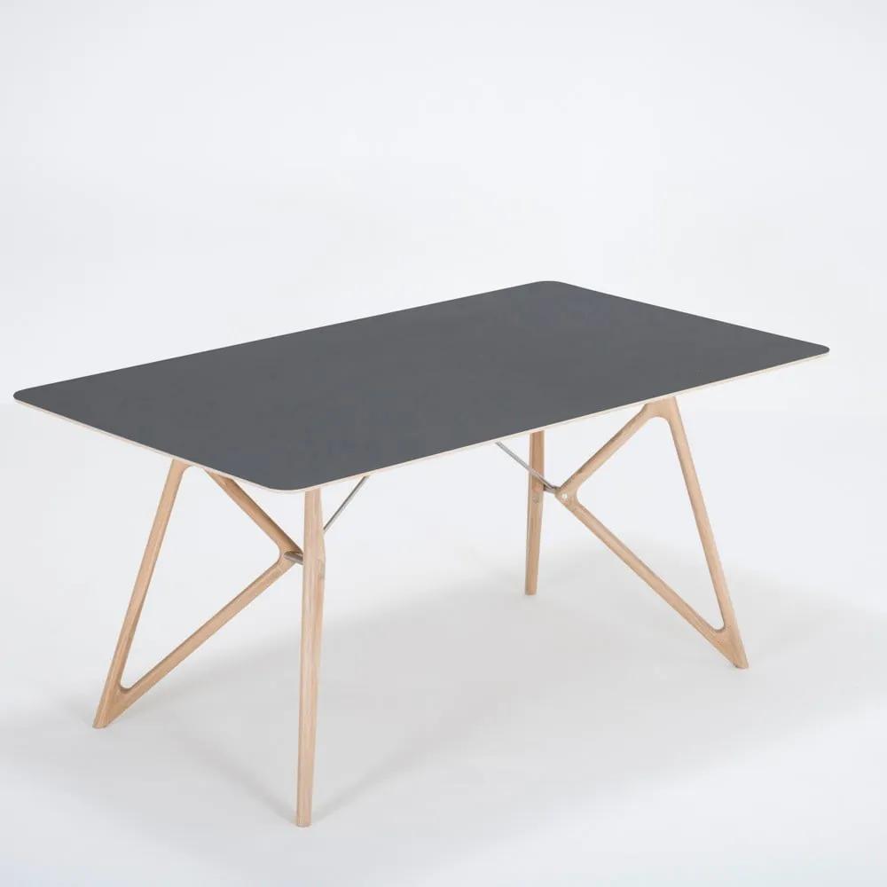 Jedálenský stôl z masívneho dubového dreva s čiernou doskou Gazzda Tink, 160 × 90 cm