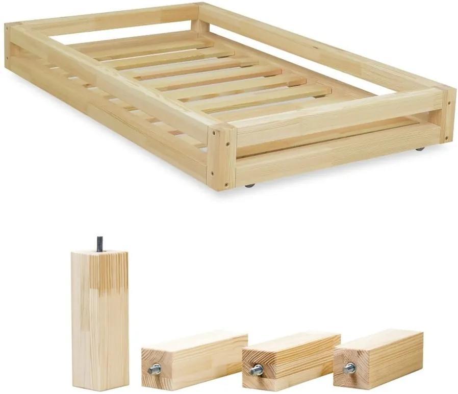 Sada prírodnej zásuvky pod posteľ a 4 predĺžených nôh Benlemi, pre posteľ 90 × 200 cm
