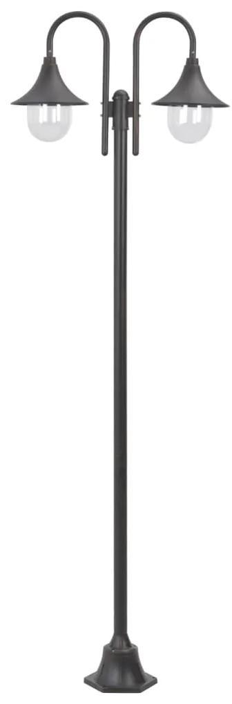 vidaXL Záhradná stĺpová lampa E27 220 cm hliníková 2-lampáše bronzová