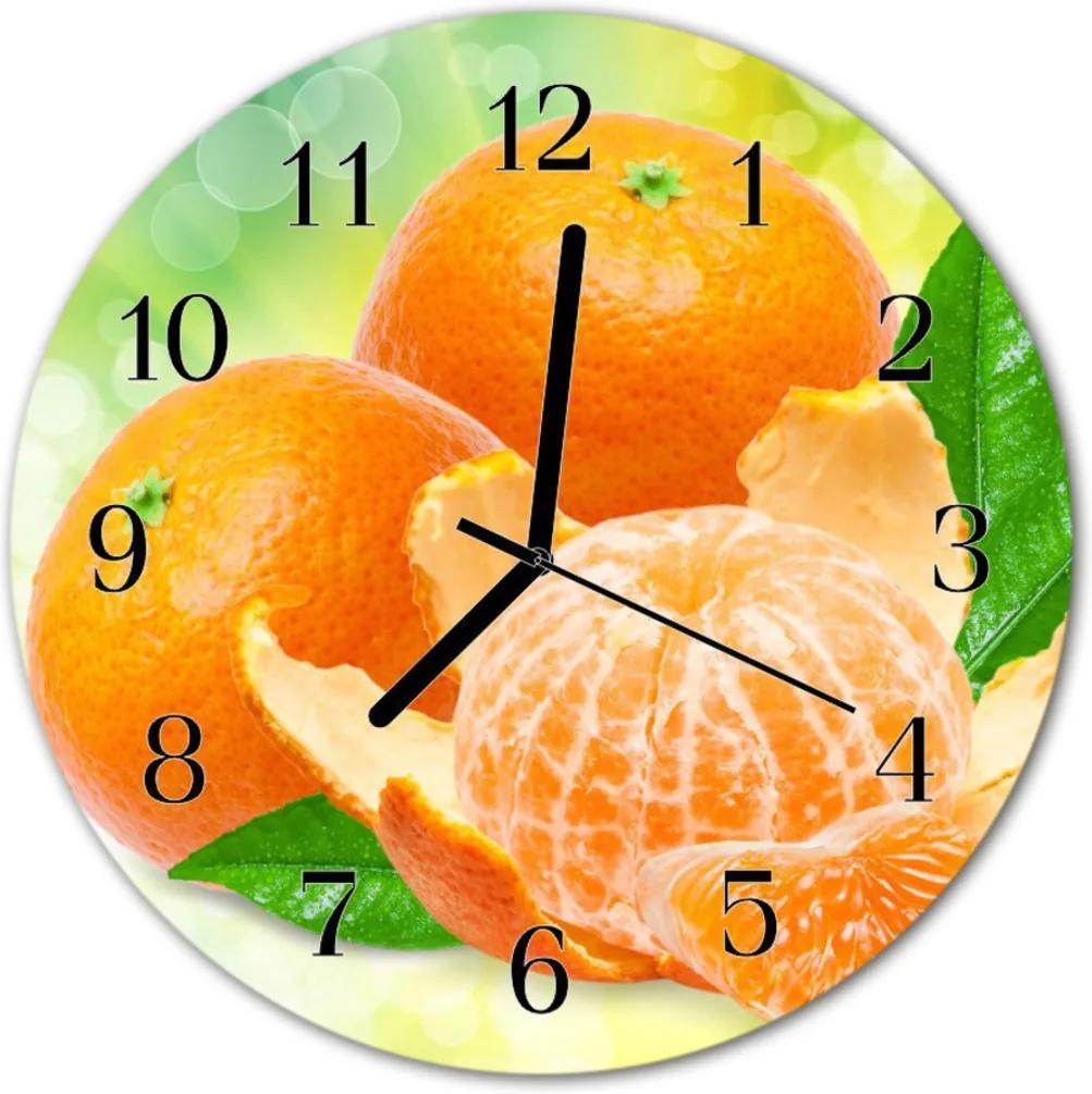 Nástenné skleněné hodiny pomeranče