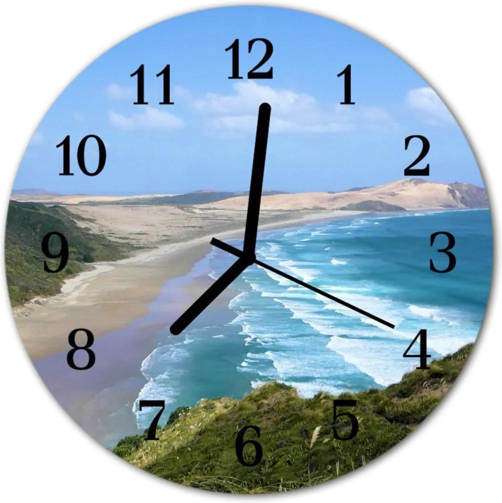 Nástenné skleněné hodiny pobřeží