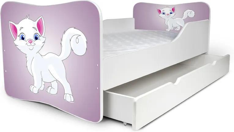 MAXMAX Detská posteľ so zásuvkou BIELA MAČIČKA + matrac ZADARMO 180x80 pre dievča ÁNO