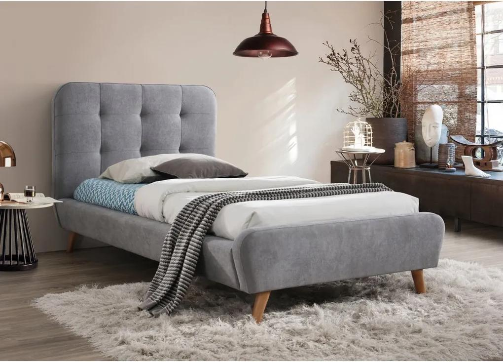 Čalúnená posteľ TIFFANY 90x200 cm sivá Matrac: s matracom DELUXE 15 cm