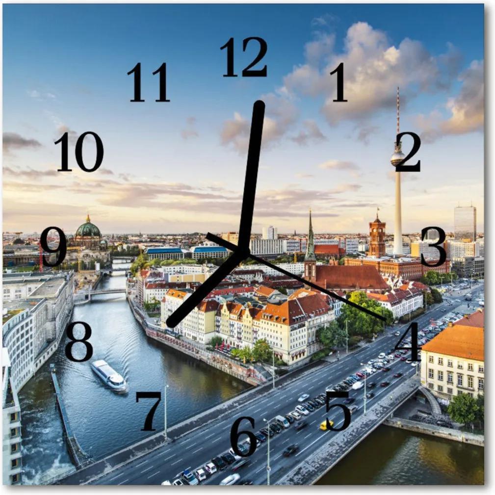 Nástenné skleněné hodiny Řeka město