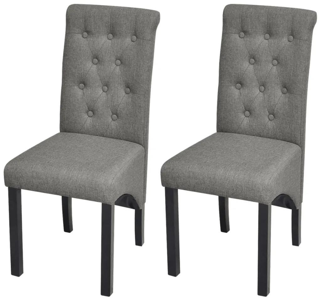 vidaXL Jedálenské stoličky 2 ks, svetlosivé, látka