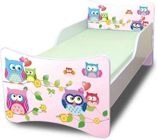 MAXMAX Detská posteľ 140x70 cm - sovička 140x70 pre dievča NIE