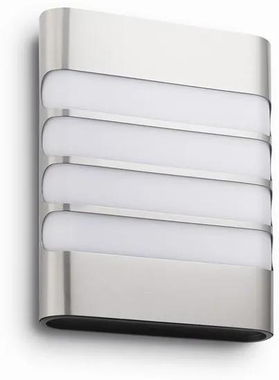 Philips 17273/47/16 Raccoon exteriérové nástenné LED svietidlo, 3W, 270lm, 2700K, IP44, nerez