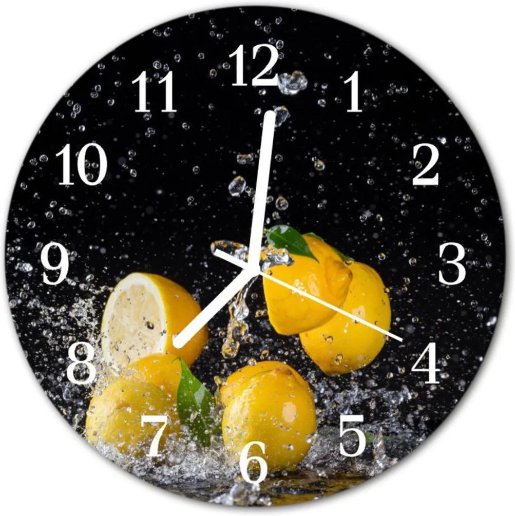 Nástenné skleněné hodiny citróny