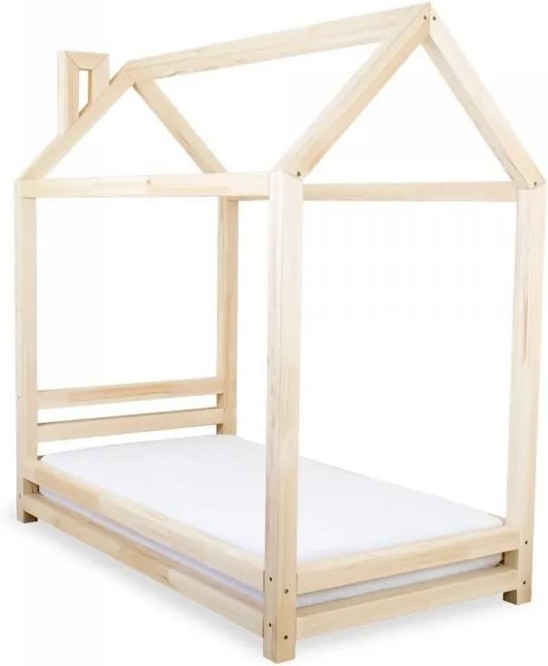 Detská posteľ v tvare domčeka Happy, 120x200cm, prírodné