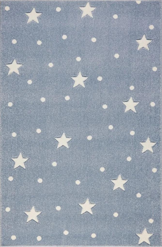 MAXMAX Detský koberec HEAVEN striebornomodrá / biely 100x150 cm modrá