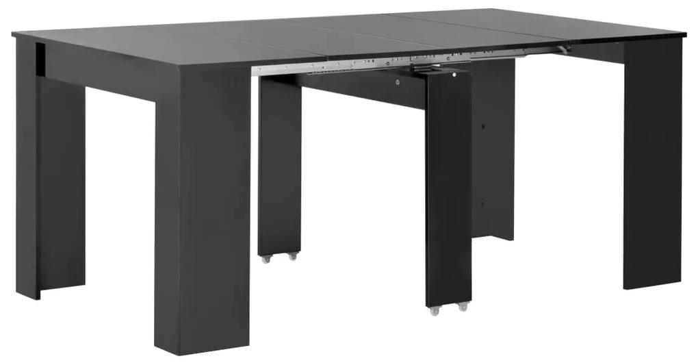 vidaXL Rozťahovací jedálenský stôl lesklý čierny 175x90x75 cm