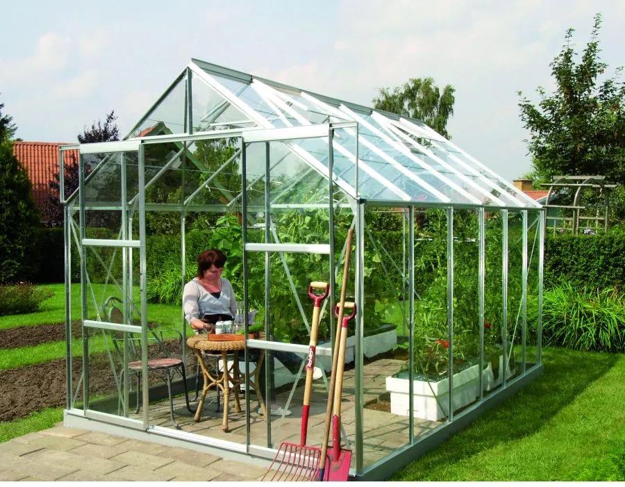 Vitavia Garden - skleník VITAVIA URANUS 9900 číre sklo 3 mm strieborný LG1037
