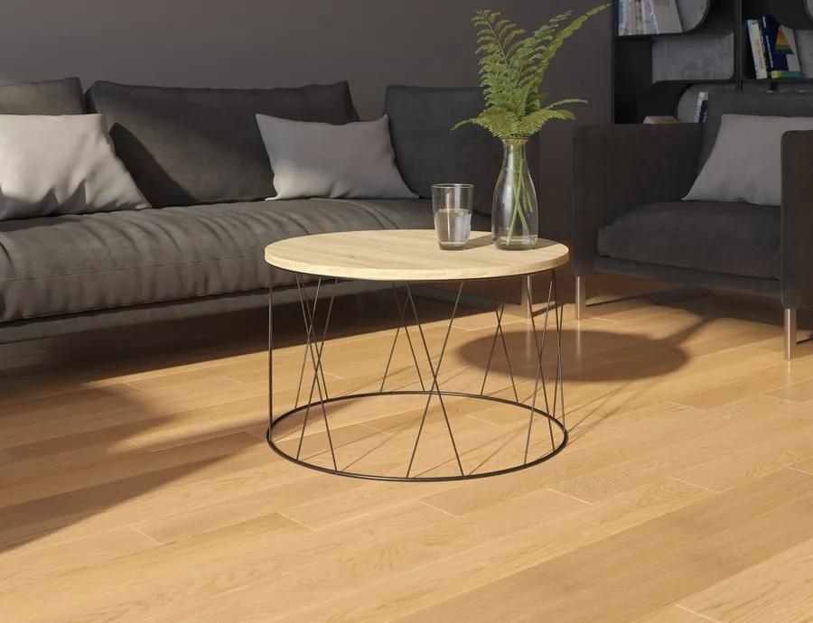 Kávový stolík s kovovými nohami Bueno - dub
