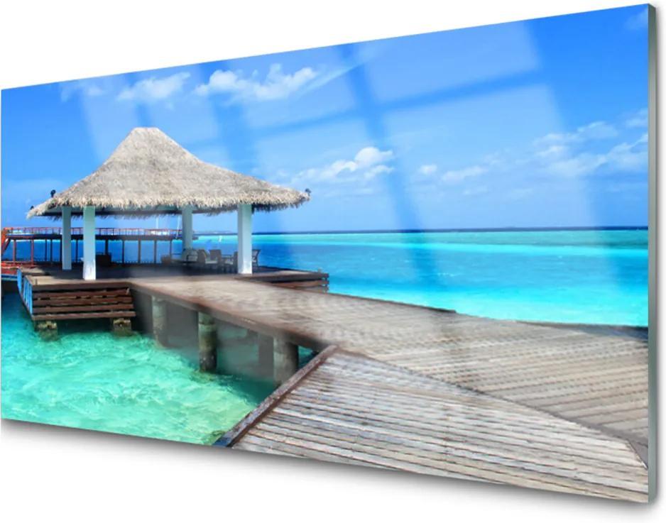 Obraz na skle Moře most architektura