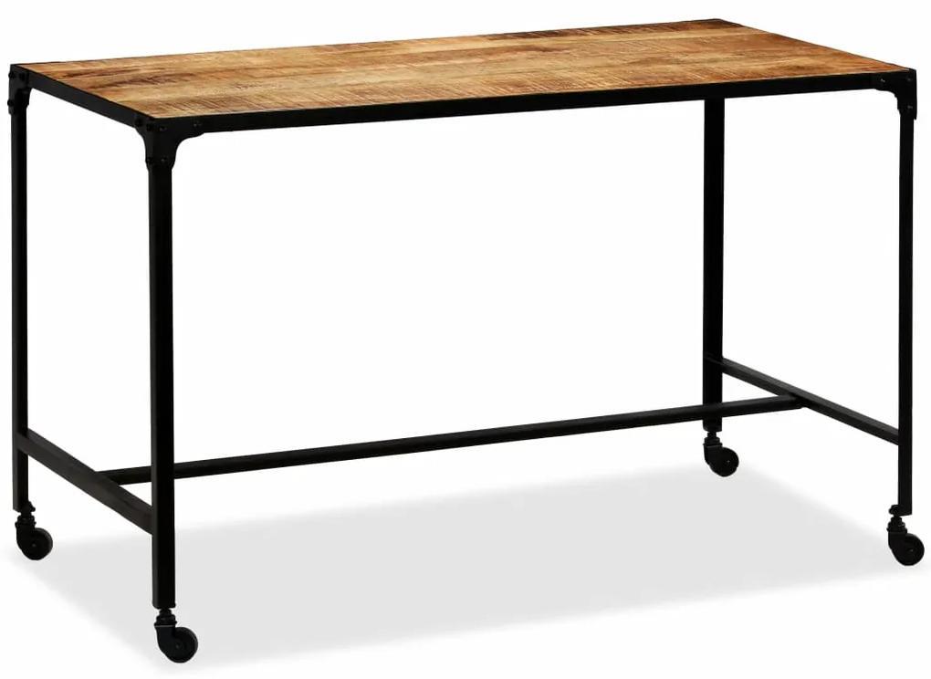 vidaXL Jedálenský stôl, masívne mangovníkové drevo a oceľ, 120x60x76 cm
