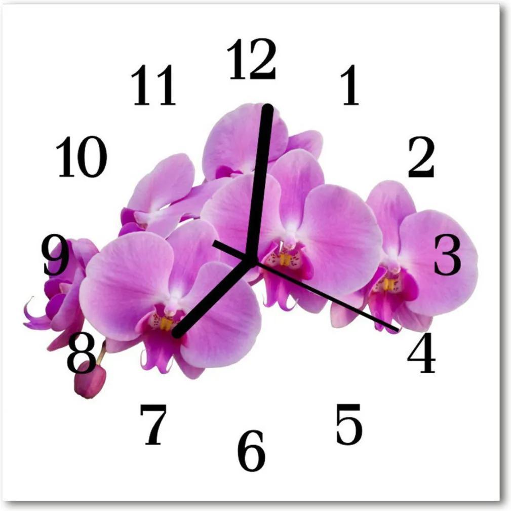 Skleněné hodiny čtvercové orchidej