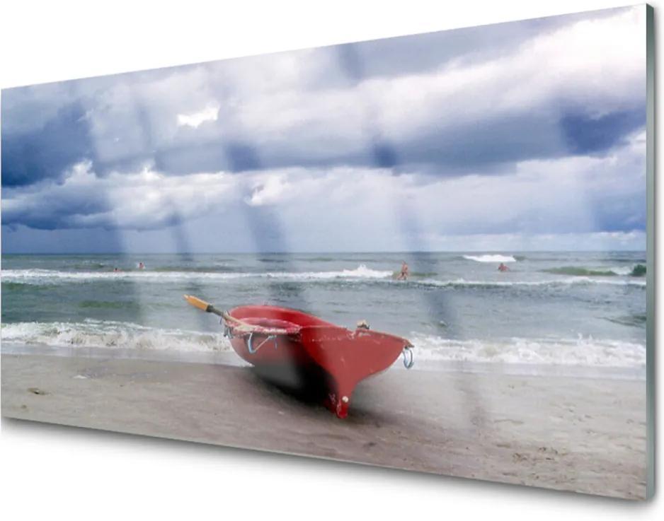 Plexisklo obraz Loďka pláž moře krajina