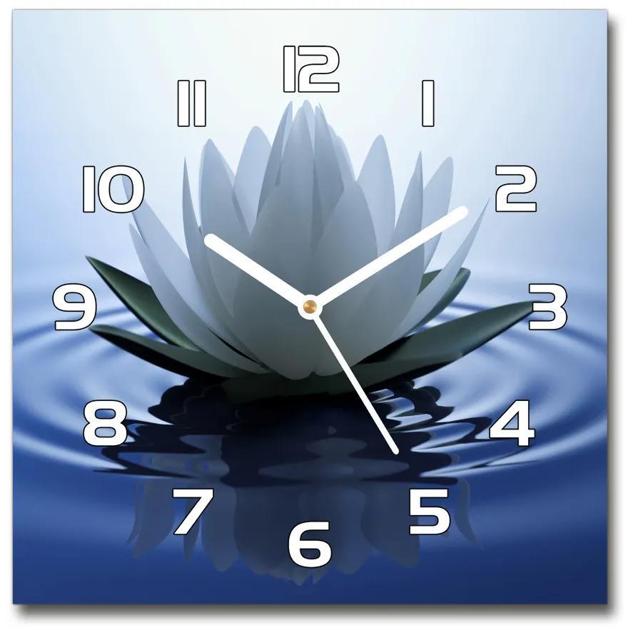 Sklenené hodiny štvorec Vodné ľalie pl_zsk_30x30_f_107626228