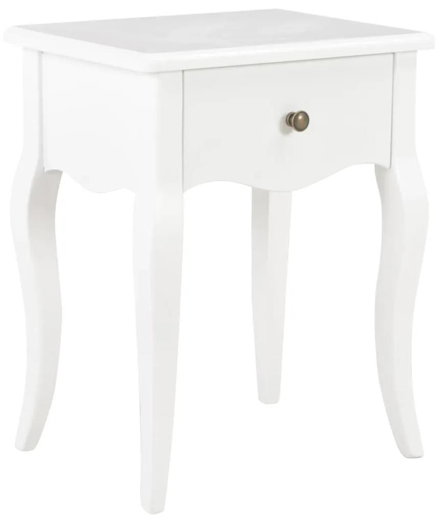 vidaXL Nočný stolík biely 40x30x50 cm masívne borovicové drevo