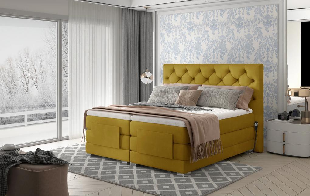 Box spring posteľ Clif 180x200, žltá, elektrické polohovanie