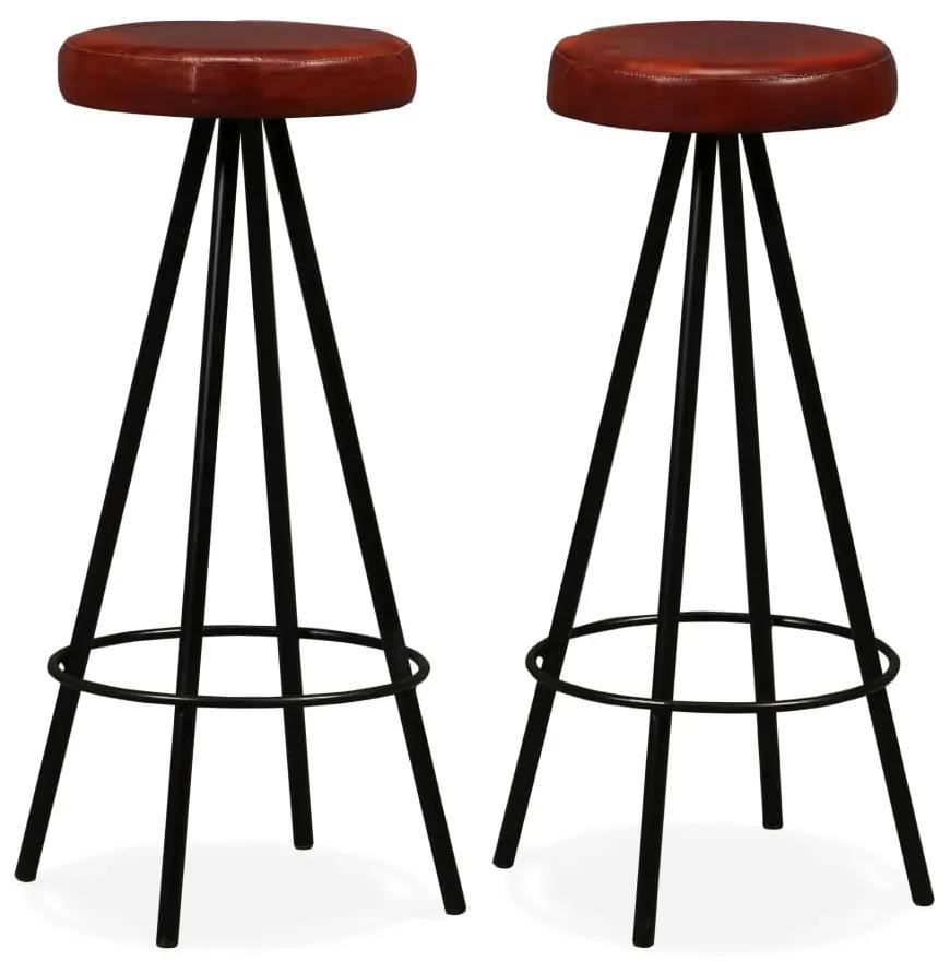 vidaXL Barové stoličky 2 ks pravá koža a oceľ