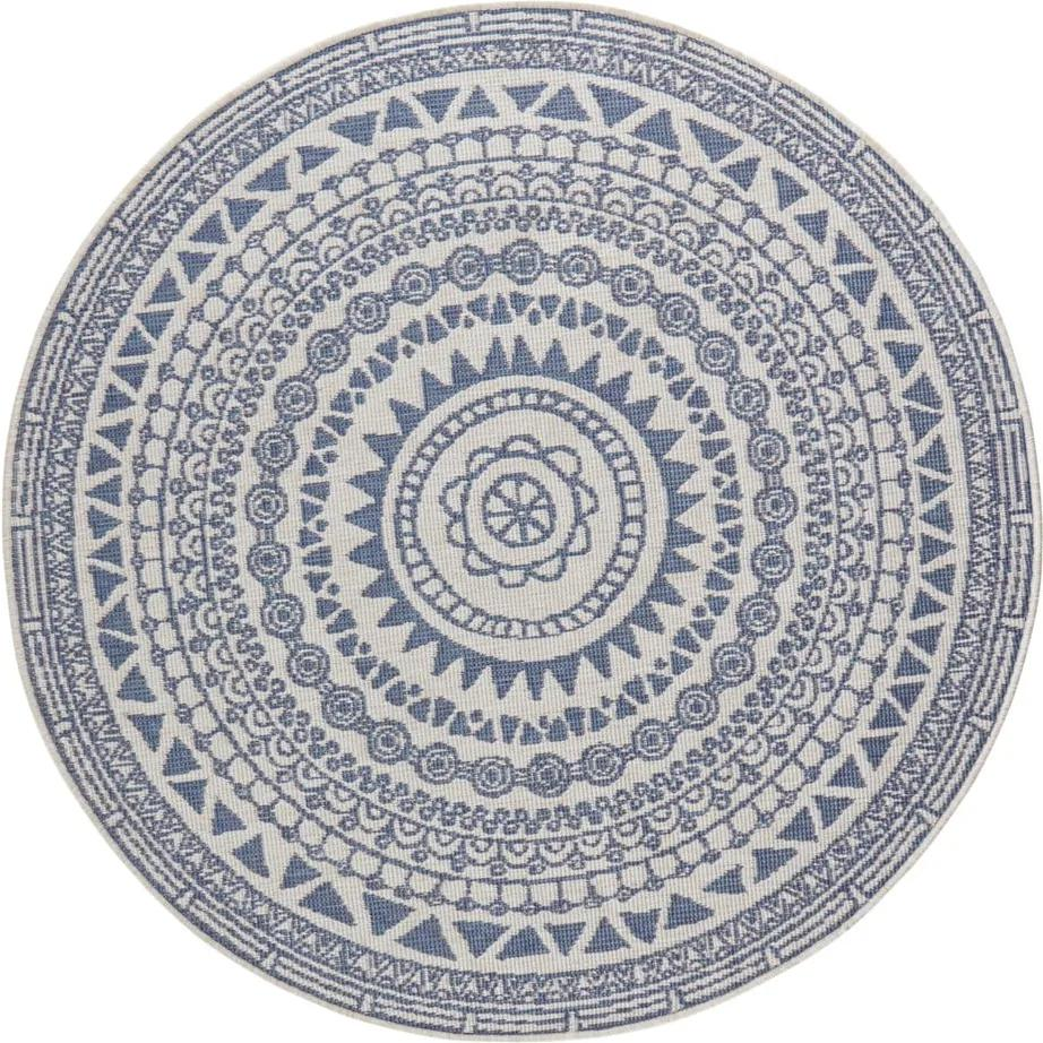 Modro-krémový vonkajší koberec Bougari Coron, ø 140 cm