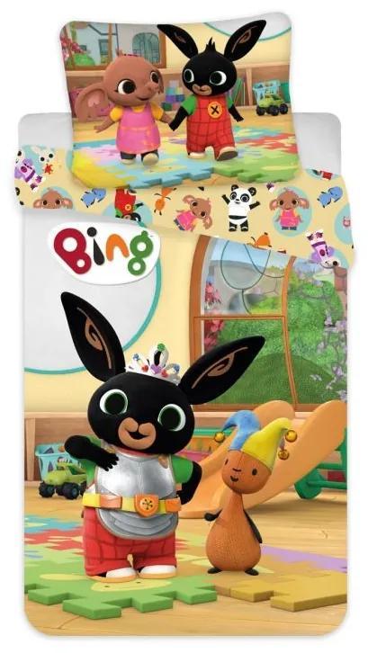 JERRY FABRICS Obliečky do postieľky Zajačik Bing a Flop v herni Bavlna, 100/135, 40/60 cm
