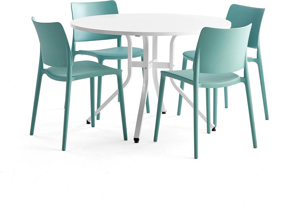 Zostava nábytku: Stôl Various + 4 tyrkysové stoličky Rio