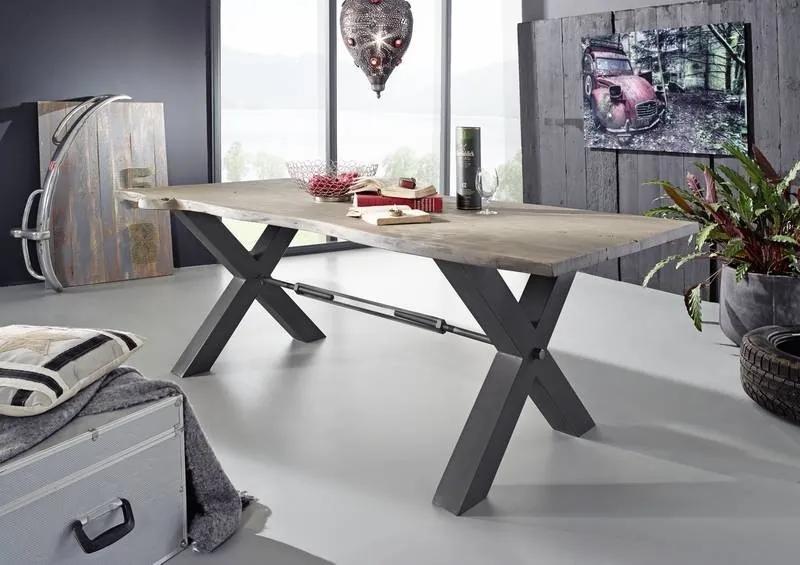 Bighome - DARKNESS Jedálenský stôl 220x100 cm - čierne nohy, sivá, akácia