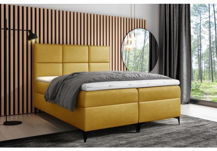 Dizajnové čalúnené jednolôžko Fiza s úložným priestororm žltá 140 x 200 + topper zdarma