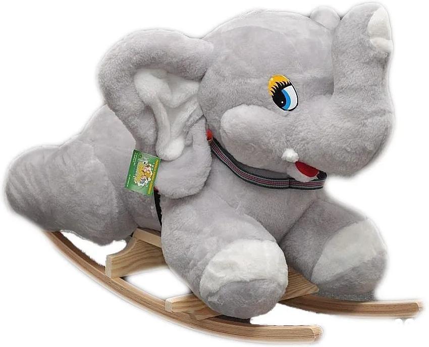 MAXMAX Detské plyšové hojdacie kresielko - ŠEDÝ sloník