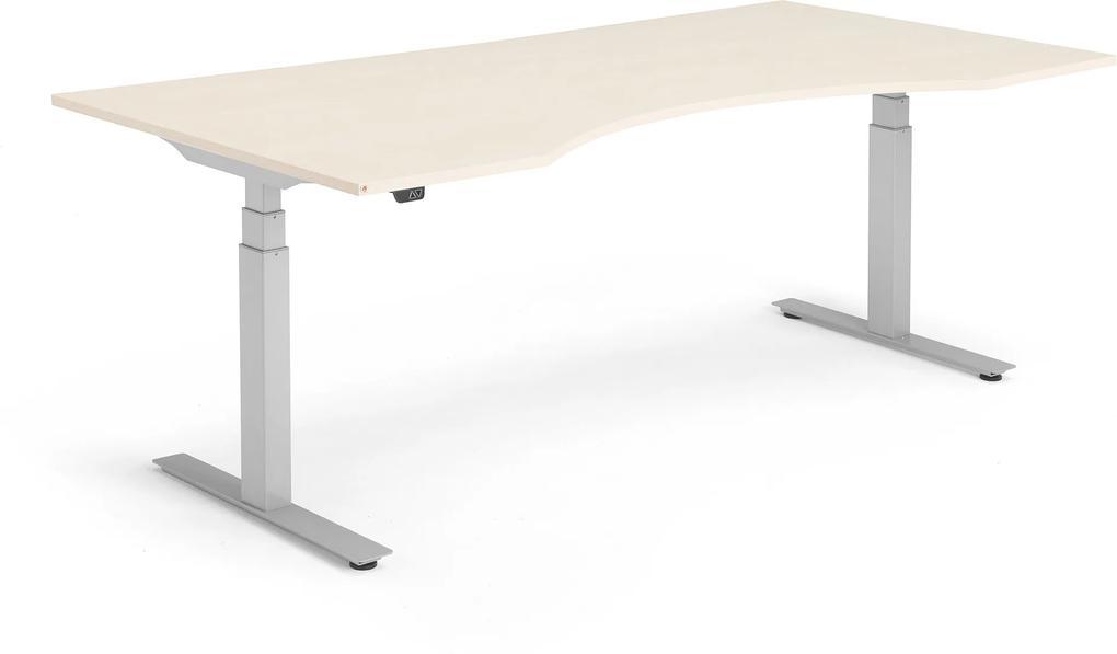 Výškovo nastaviteľný stôl Modulus, vykrojený, 2000x1000 mm, breza/strieb.