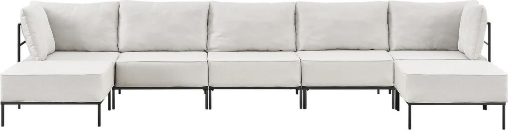 [en.casa]® Pohovka / sedacia súprava - variabilná 5 miestna s 2 podnožkami - piesková