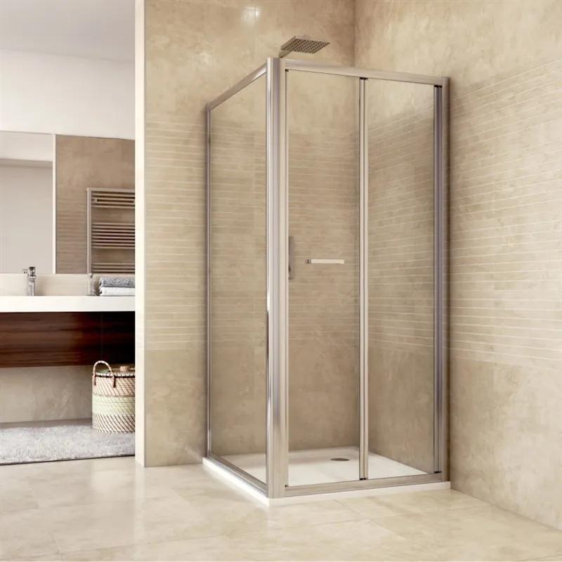 MAXMAX Sprchovací kút, Mistic, štvorec, 80 cm, chróm ALU, sklo Chinchilla 80 čtvercový
