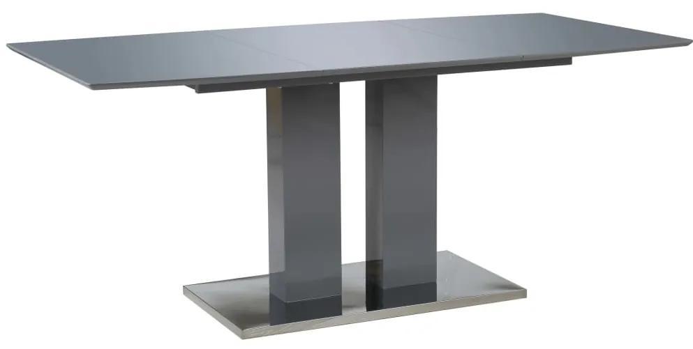 vidaXL Jedálenský stôl, vysoký lesk, sivý 180x90x76 cm, MDF