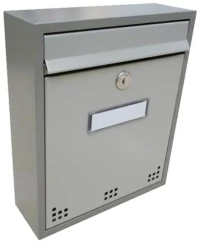 Poštová schránka DLS-H-011_R-M-S s hliníkovou sklapkou, interiérové schránky - sivá RAL 7040 / Barva schránky:Šedá RAL 7040 / Šedá RAL 7035