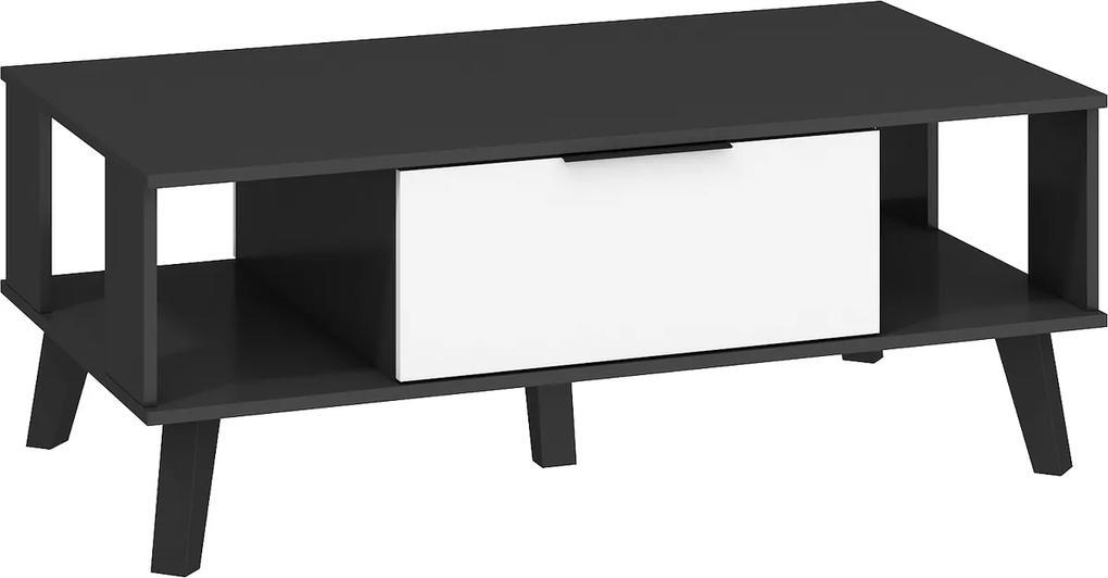 MEBLOCROSS Sven SVN-05 konferenčný stolík čierna / biely lesk