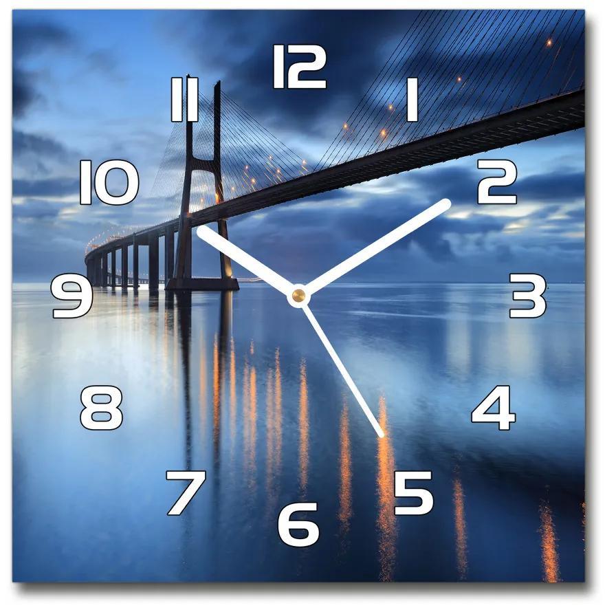 Sklenené hodiny štvorec Osvetlený most pl_zsk_30x30_f_48644304