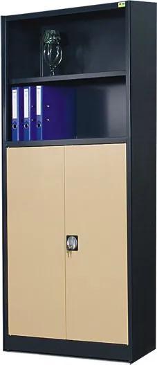 NABBI SB 1000 02 5P kovová kancelárska skriňa antracit / béžová