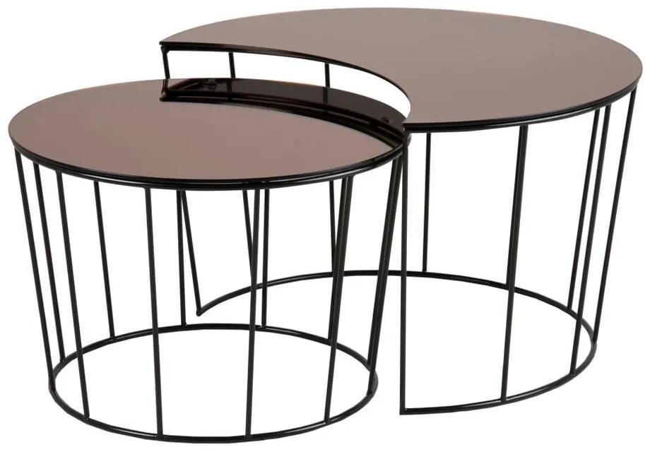 Sada 2 odkladacích stolíkov v čierno-bronzovej farbe Actona Sunmoon