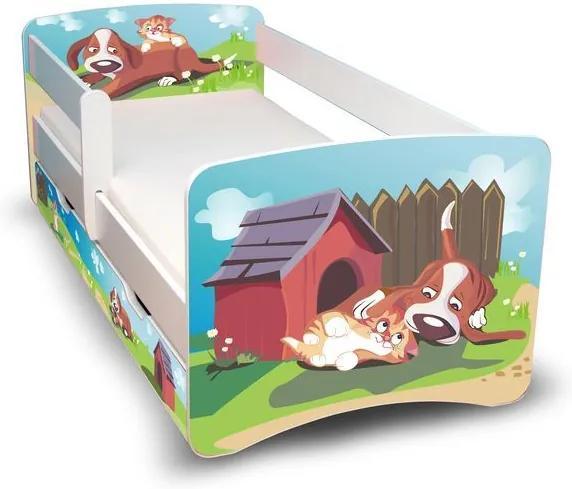 MAXMAX Detská posteľ so zásuvkou 160x70 cm - PSÍK A MAČIČKA II 160x70 pre všetkých ÁNO
