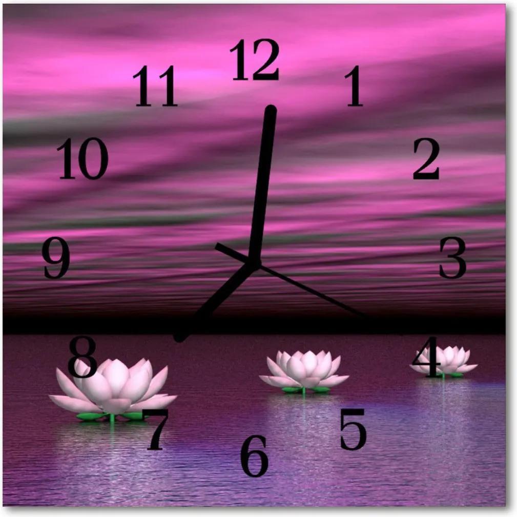 Nástenné skleněné hodiny Vodní lilie