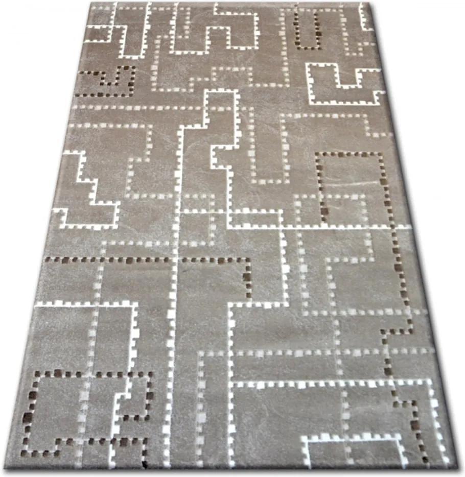 Luxusný kusový koberec akryl Tetris hnedý, Velikosti 160x230cm