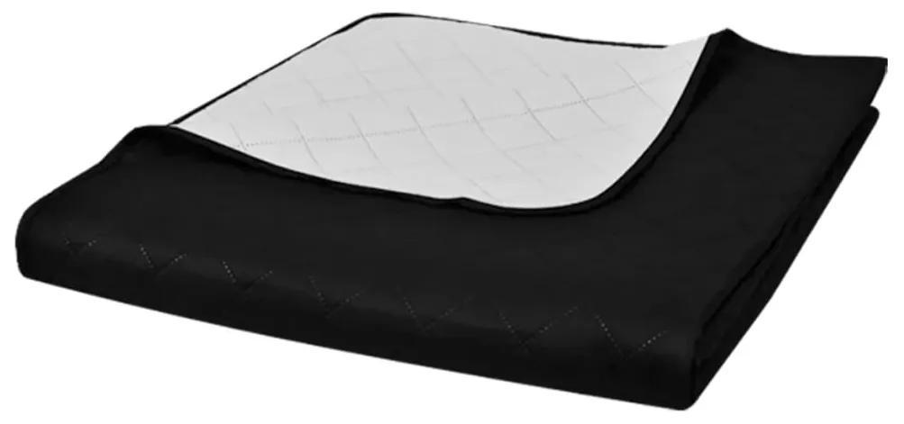 vidaXL Obojstranná posteľná prikrývka, čierna/biela, 230 x 260 cm