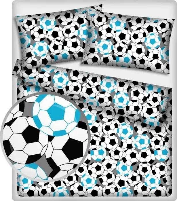MAXMAX Detské bavlnené obliečky FUTBAL - modré 140 x 200 cm
