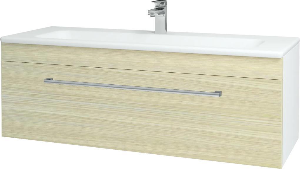 Dřevojas - Koupelnová skříň ASTON SZZ 120 - N01 Bílá lesk / Úchytka T03 / D04 Dub (131128C)