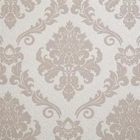 Vinylové tapety na stenu 1368-18, rozmer 10,05 m x 0,53 m, zámocký vzor hnedý na bielom podklade, IMPOL TRADE